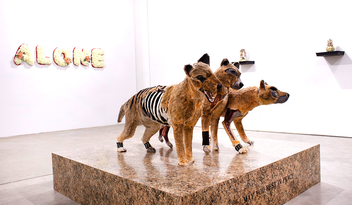 Art gallery with animal sculpture
