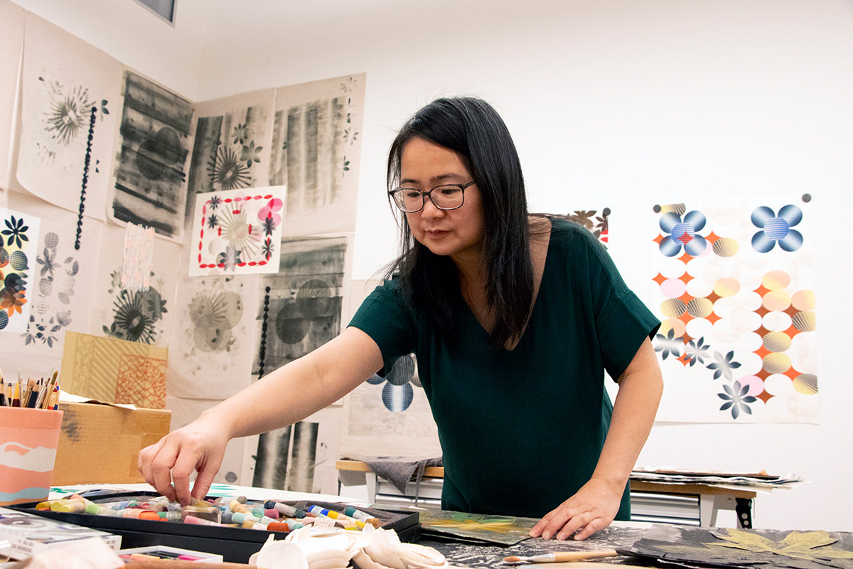 Associate professor Charlene Liu in her print studio