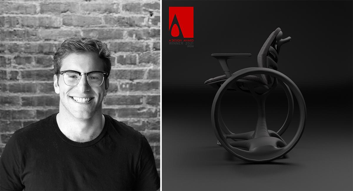 Photo of Ezra Ende and a wheelchair design
