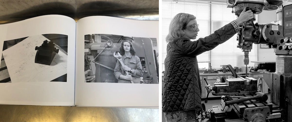 Black and white photos of women in machine shops