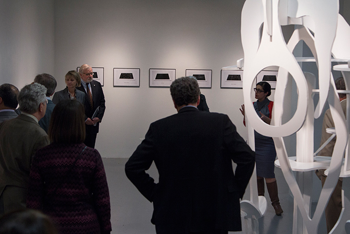 UO Board of Trustees visit the Selected Show by Department of Art students in the LaVerne Krause Gallery