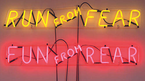 Bruce Nauman, Run from Fear, Fun from Rear, 1972, Neon, Part a: 8 × 46 × 2 1/4 in. part b: 7 1/4 × 44 1/2 × 2 1/4 in.