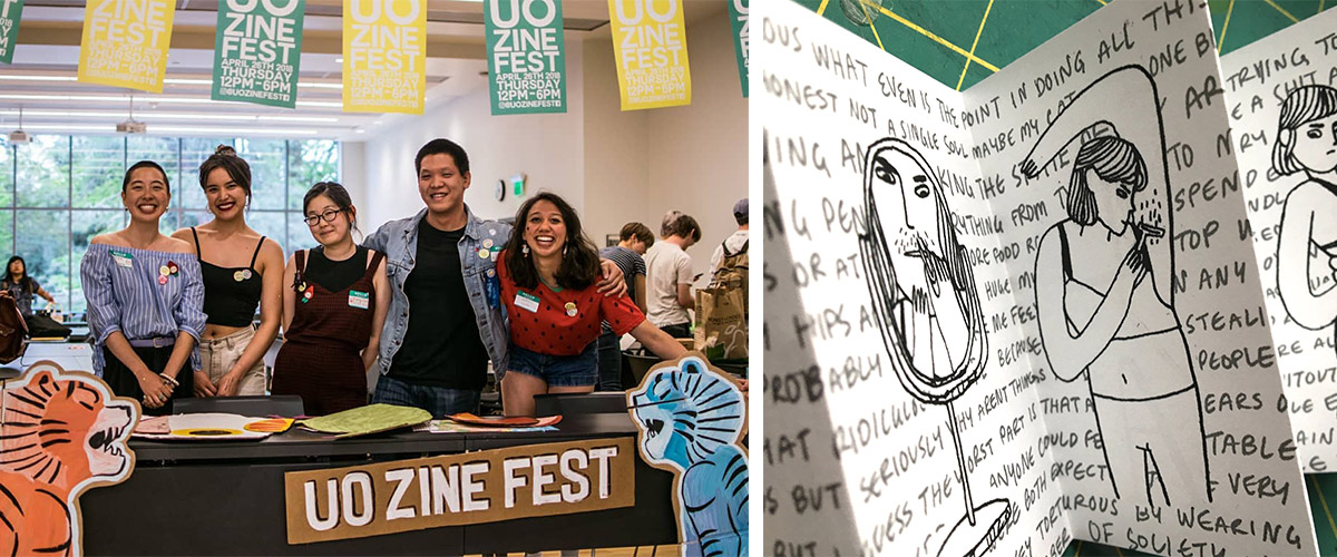Group of students at UO Zine Fest and a page of a zine