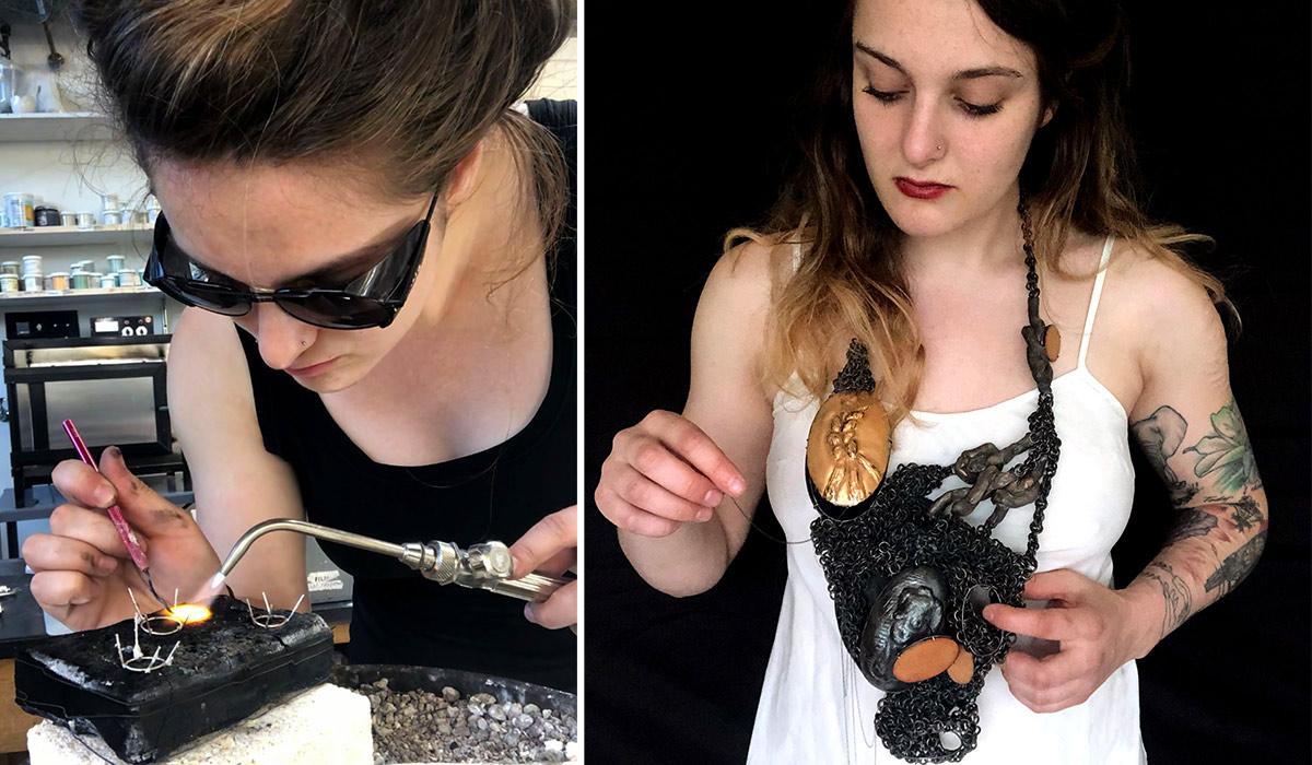 Portraits of Paige Van Doren with her necklaces
