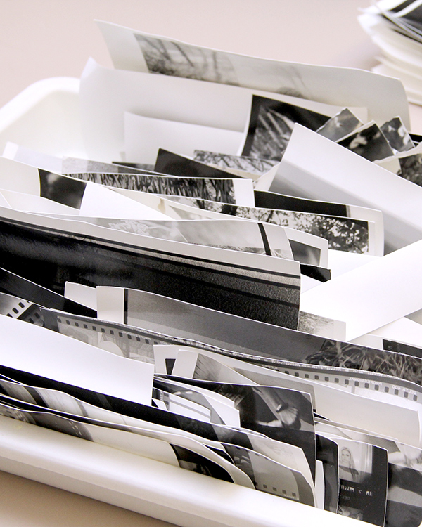 tray of film and black and white photos