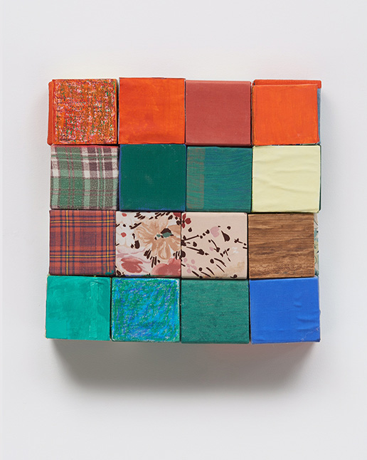 Bishop Road-Hess Road. 2011, wooden blocks, flannel, dress fabric, paper, flashe acrylic, house paint, oil pastel, 14.25 x 14.25 x 3.25 inches. Photo by Phoebe d'Heurle.