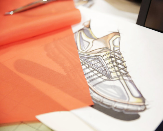 shoe design with orange fabric swatch