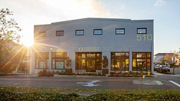 510 Oak building exterior at sunset
