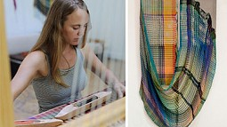 Photo of a woman weaving and of fiber art