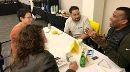 students talk with Arturo Zavala and Wilson Smith