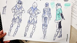 Design sketches of apparel