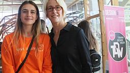 Professor Kiersten Muenchinger with a student at Tirana Design Week