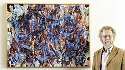 Joe Fischer with abstract painting