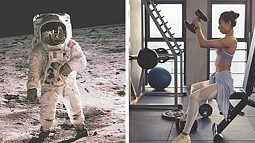 astronaut and woman working out