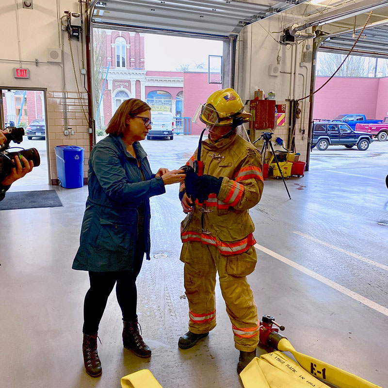 Susan Sokolowski and firefighter