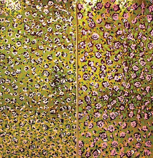 Flowers Gold, latex paint, Mylar, industrial foam, 96 x 96 in